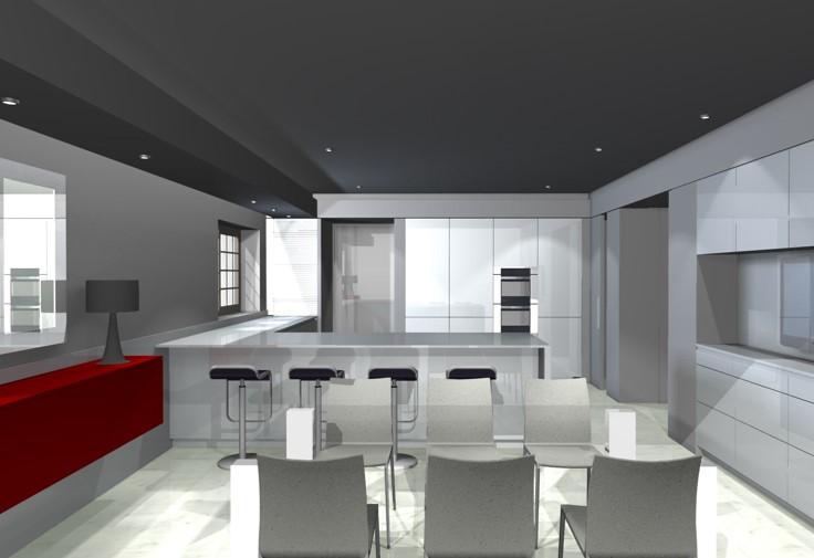 Render proyecto cocina dise o cocinas piezas habitat - Diseno de interiores malaga ...